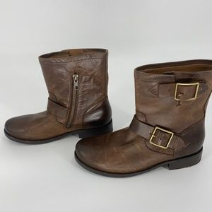 NWOT FRYE Sz6.5 Vicky Engineer Brown Leather Boot